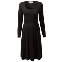 East Merino Cable Seam Detail Dress, Black
