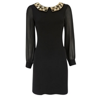 Petite Black Collar Dress