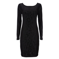 Black Sequin Panel Dress